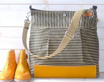 Waxed Canvas bag,Diaper bag,Messenger bag,nautical striped,cross body bag,Gift for her,gift for mom,Webbing strap