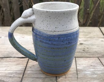 Ceramic Mug  - Speckled White and weathered blue  16 oz with thumb rest  Ready to Ship- In-Stock