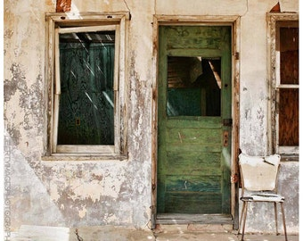Abandoned Route 66 Filling Station Photograph — Lonely Chair Beside Green Door Photo — Forsaken America — Lost to History Wall Art — Empty