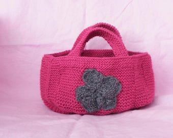 Fuchsia with grey flower handbag handmade knit