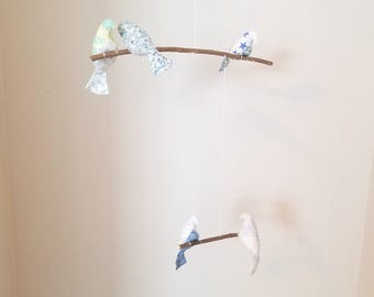 Two Tier Fabric Bird Mobile - Light Blue and Green