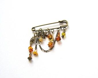 Raw Baltic Amber Brooch, Gemstone Brooch, autumn sun, Natural Amber Dangle  Boho Brooch,bronze brooch, ethnic bohemian jewelry
