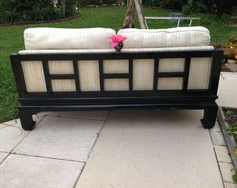 "ASIAN FRETWORK SOFA / Century Chinoiserie Style Couch 63"" long x 33.5"" deep / Asian Ming Style Fretwork Sofa / Century Sofa Retro Daisy Girl"