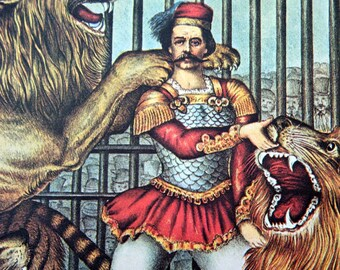 Vintage Lion Tamer Circus Poster Size Book Plate Poster Print