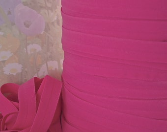 5yds Stretch Ribbon Fold Over Hot Pink HeadBands 1/2 inch wide 12mm Matte FOE Stretch Trim elastic by the yard