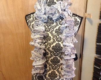 lightweight silver ruffle scarf