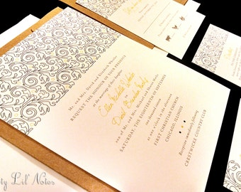 Flourish Damask Lace Henna Custom Unique Wedding Invitation Navy Yellow Spring Summer Fall Winter Striking Floral Toile Indian Kraft Modern