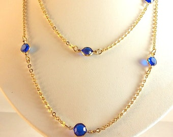 Vintage Faceted Lucite Bead Gold Long Necklace