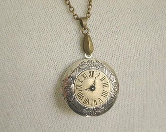 Clock Locket Necklace Vintage Locket Brass Locket Silver Brass Vintage Locket Jewelry