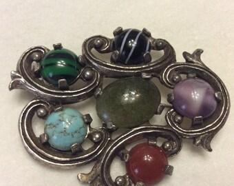 Vintage 1950's pot metal jade, agate cabochons hurricane brooch pin. Free ship to US