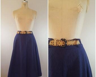 Vintage 1960s Skirt / Navy Blue / A-Line Skirt / Small Medium