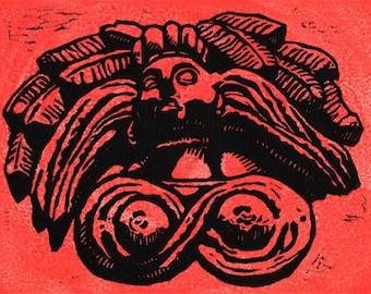 La India - original linoleum block print