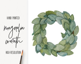 Watercolor Magnolia Wreath / watercolored wreath /  png / hand painted clip art / digital Farmhouse / INSTANT DOWNLOAD