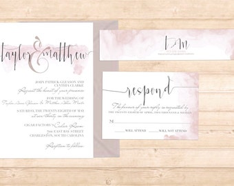 Rose Suite-Blush pink watercolor invitation suite with belly band.