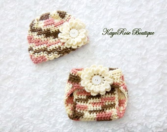 Newborn Baby Girl Crochet Flower Hat and Diaper Cover Set Pink Cream and Brown