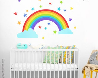 Rainbow Wall Decal, Rainbow Wall Sticker, Clouds Wall Decal, Stars Wall Decal, Colorful Stars Wall Decal, Kids Baby Nursery Wall Decor