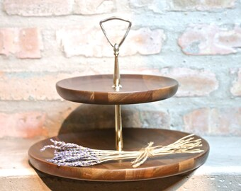 Two tiered server Walnut server made in Missouri jewelry display