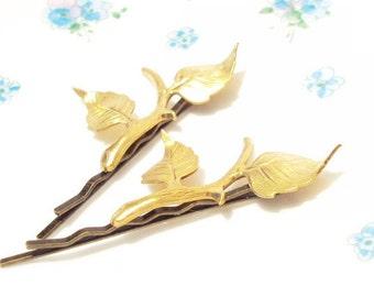 Golden Leaf Branch Bobby Pin Set - Gold Leaf Branch Hair Pins -  Gold Branch Hair Pins - Leaf Hair Pins - Woodland Leaf Bobby Pin - Bridal