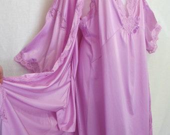 Lingerie Set Miss Elaine Nightgown Peignoir Set Orchid Nightgown Robe Set