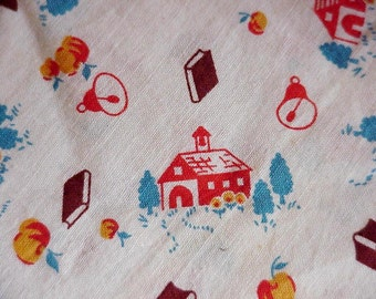 Vintage 1940s Feedsack, Novelty Schoolhouse Full Feed Cloth Sack, Cotton Fabric Flour Bag, Cottage Chic Home Decor itsyourcountry