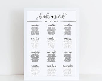 Printable Wedding Seating Chart, Custom Printable Wedding Seating Assignment Chart, Printable Wedding Reception Seating Chart Sign