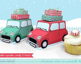 christmas retro cars -  cupcake boxes hold cookies and treats, gift and favor boxes, centerpiece printable PDF kit - INSTANT download