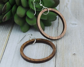 Wood Earrings - Wooden Hoop Walnut Earrings - Small