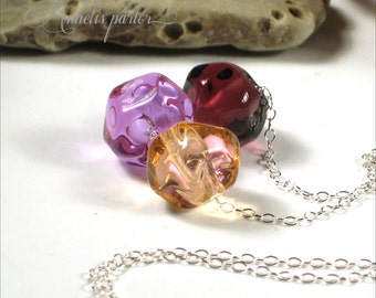 Lampwork glass bead and sterling silver necklace. Handmade lampwork beads, sterling silver chain, Artisan, SRA