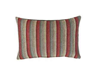 Colefax and Fowler - Green & Red Stripe Lumbar Pillow