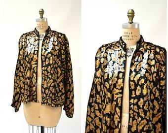 Vintage Sequin Jacket Black Large XL with Leopard Cheetah Animal Pattern// Vintage Black Sequin Jacket Animal Modi Large XL