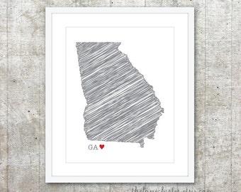 State of Georgia Art Print - Custom State Love Poster - Slate Grey Red Heart - Modern Wall Art