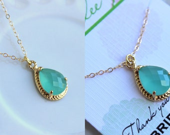 Gold Mint Necklace Blue Jewelry - Mint Wedding Necklace Jewelry Bridesmaid Gift Jewelry - Aqua Blue Bridal Jewelry Bridesmaid Gift Under 30