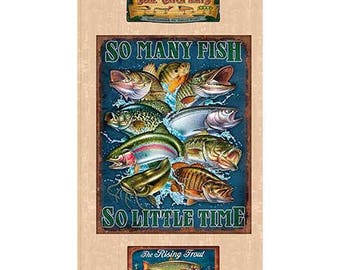So Many Fish, So Little Time Fish Panel - by Quilting Treasures - 100% Cotton Fabric