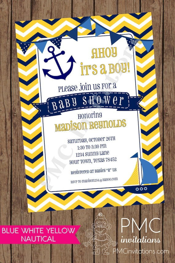 Chevron Yellow White Blue Nautical Baby Shower Invitations