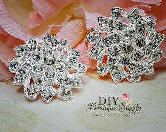 2 pcs Rhinestone Crystal Brooch Embellishments DIY Brooch Bouquet Crystal Wedding Supply Bridal Sash Pin  Hair Clips 33mm 480092