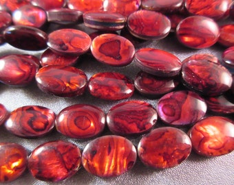 Red Abalone Shell Laminated Oval Beads 26pcs