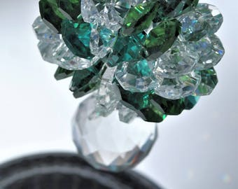 Crystal Sun Catcher Green 30MM drop ball and 60 Octagons Crystals