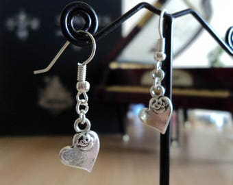 Heart Earrings with a Pink - Silver - 3.5 cm