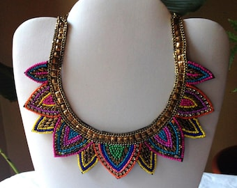 Aztec Chevron Seed Bead Tribal African Fuchsia Gold Woven Multi Color Southwestern Bib Collar Necklace