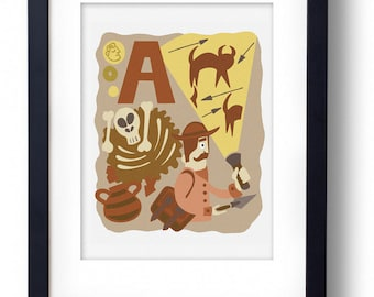 A for Archaeologist A4 Original Illustration Print