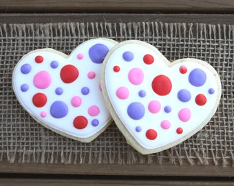 Polka Dot Heart Sugar Cookies