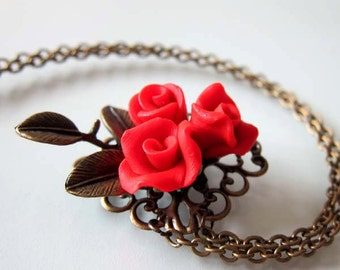 Vintage Style Red Rose Necklace - Handmade Polymer Clay Rose Necklace - Red Rose Jewelry - Valentine Necklace - Red Wedding Jewelry