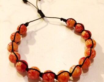 Handmade bracelet, Orange bracelet, Charm bracelet, Gift for her, Handmade jewelry