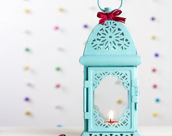 Candle Holder Lantern Unique Vintage Scheherazade Exotic Moroccan Decor Filigree Turquoise Blue Beach Wedding Gift for Her