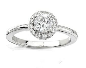 1/2CT Halo Diamond Genuine Engagement Ring 14 Karat White Gold Size 4-9