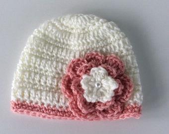 Crochet baby hat , 0-3 months hat, baby girl hat, newborn baby hat