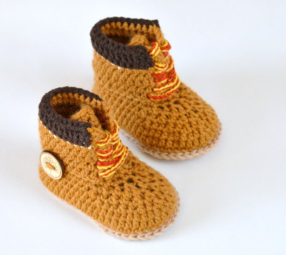 Crochet Pattern Baby Booties Timberland Style Construction Boot