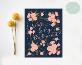 Be My Bridesmaid Card Printable Bridesmaid Card Will you be my bridesmaid card wedding cards wedding stationery INSTANT DOWNLOAD