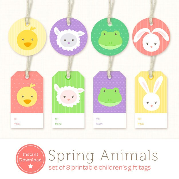 Instant download easter gift tags baby animals printable zoom negle Images