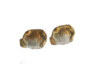 Silver tiny stud earrings|Modern earrings|Oxidised stud earrings|Unusual earrings|Designer stud earrings